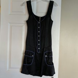 Silk black with navy blue trim free people dress